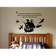 Peter Pan Cartoon Never Grow Up Wall Decal Sticker Ship Pirate Kids Children Boys Nursery Bedroom 1498b