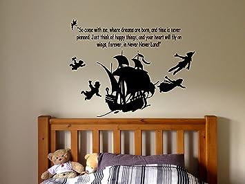 Wall Sticker Decal Peter Pan Cartoon Ship Pirate Never Grow Up Kids  Children Boys Nursery Bedroom Part 60