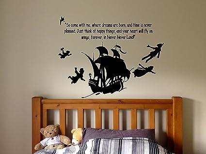 Peter Pan Cartoon Never Grow Up Wall Decal Sticker Ship Pirate Kids Children Boys Nursery Bedroom