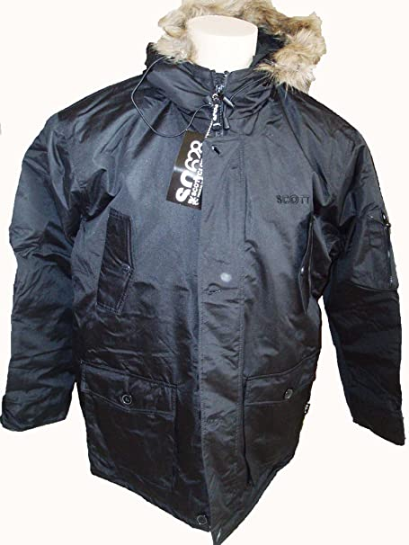 Scott Parka para adulto con larga y cuello piel, color negro negro small: Amazon.es: Ropa y accesorios