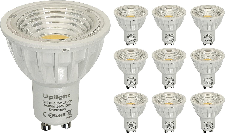 Regulable GU10 LED Bombillas,Blanco Calido 2700K,Equivalente 60W,RA90 550LM, 90°ángulo de haz,Paquete de 10 unidades.: Amazon.es: Iluminación