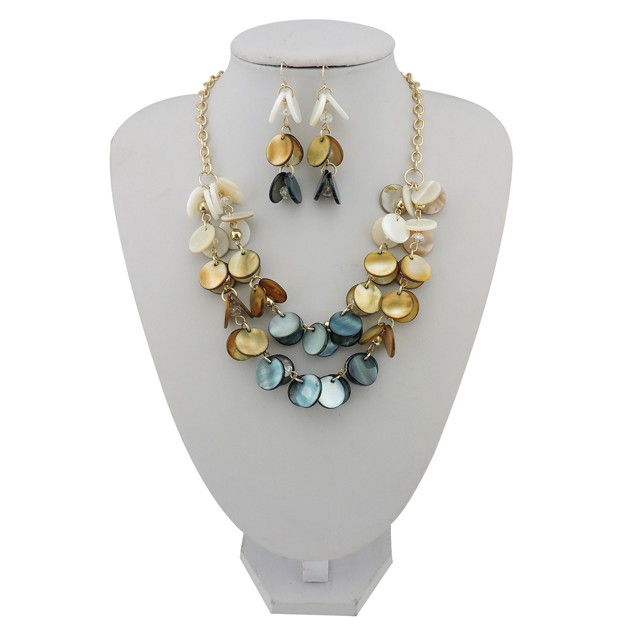 Bocar 2 Layer Statement Choker Shell Necklace and Earring Set for Women Gift (NK-10248-cream+niagara)