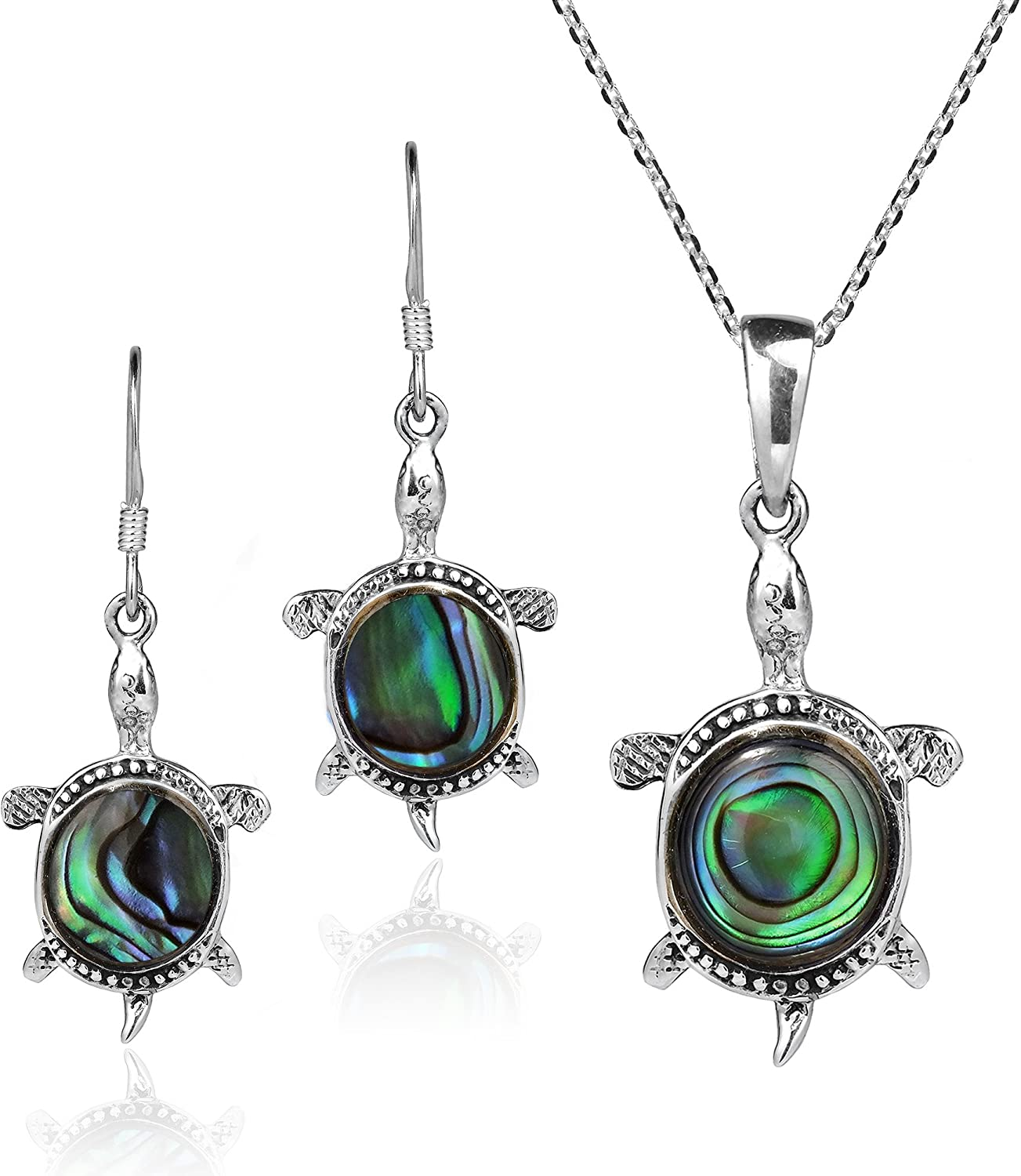 BEAUTIFUL NEW Genuine Abalone Earring and Pendant Set in Sterling Silver