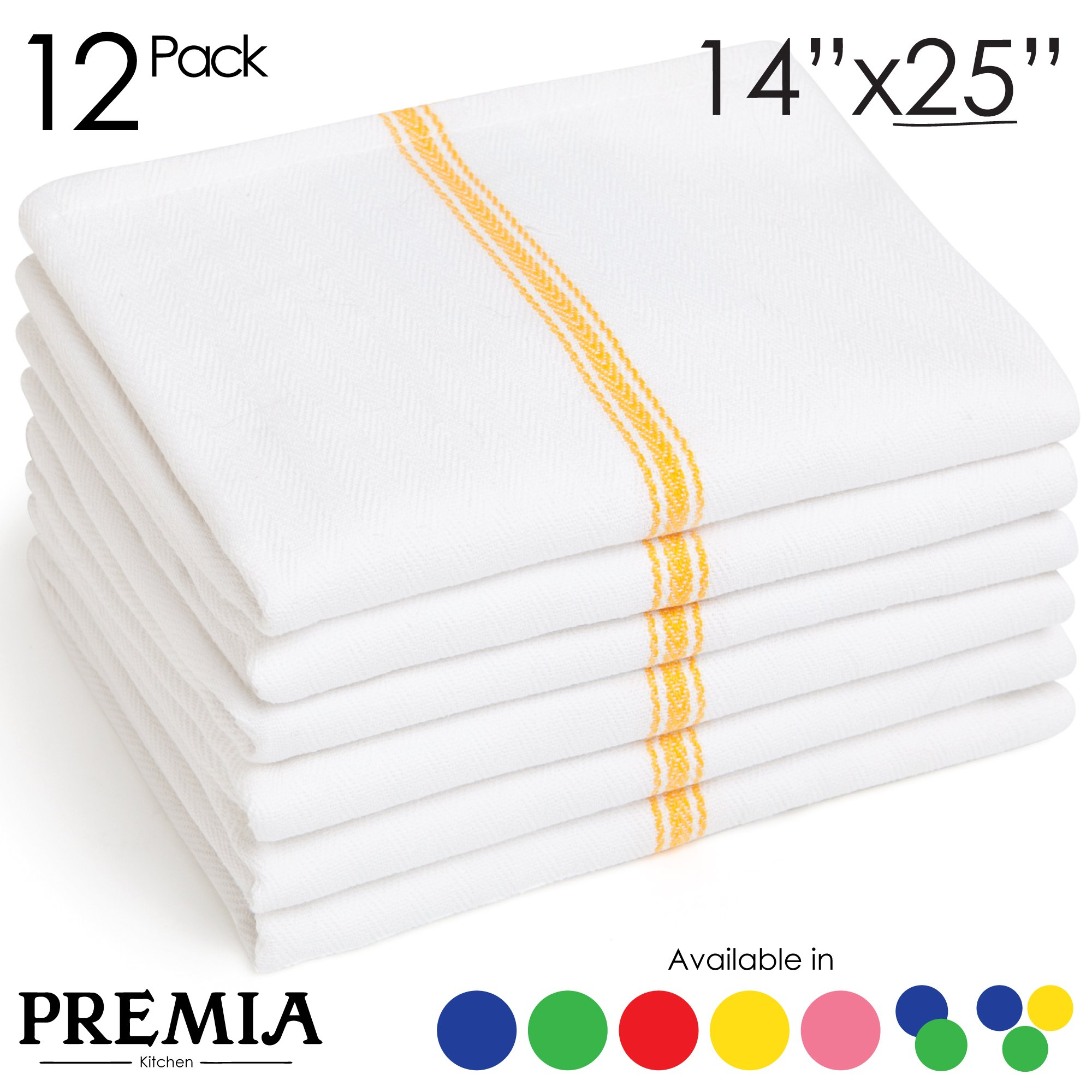 Dish Towels (12 Units) • Commercial Kitchen Towel • Absorbent 100% Cotton Herringbone (14''x25'') • Commercial Quality: 24 oz/dz • Premia Classic Tea Towels in Yellow Stripes • Low Lint by Premia Kitchen