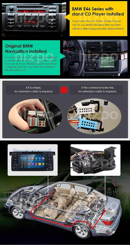 hizpo 7 pulgadas, Quad Core Android 7.1 Lollipop estéreo a doble DIN para radio de coche BMW E46 Soporte de la serie SWC de navegación GPS Radio de coche ...