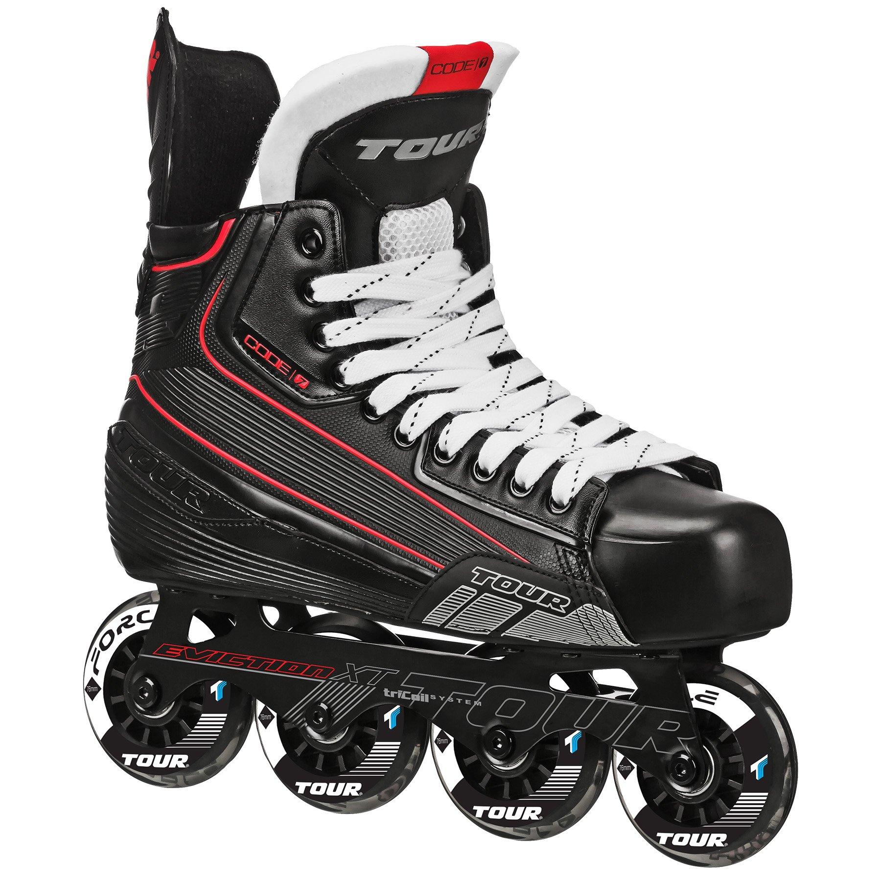 TOUR Hockey CODE 7 Senior Inline Hockey Skate, Black, 12 by Tour Hockey