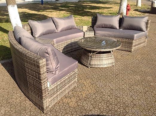 Set de muebles de jardín de mimbre, sofá esquinero redondo y mesa, gris: Amazon.es: Jardín