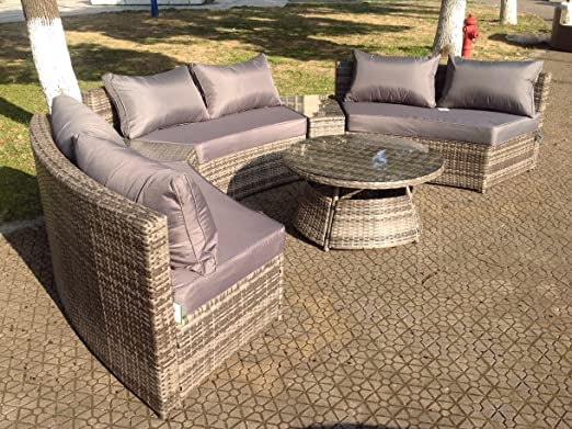 Set de muebles de jardín de mimbre, sofá esquinero redondo y ...