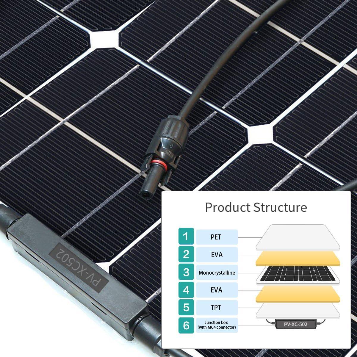 Solarpanel Solarmodul 130W 18V Semi-Flexible Monokristallin Wohnmobil DE