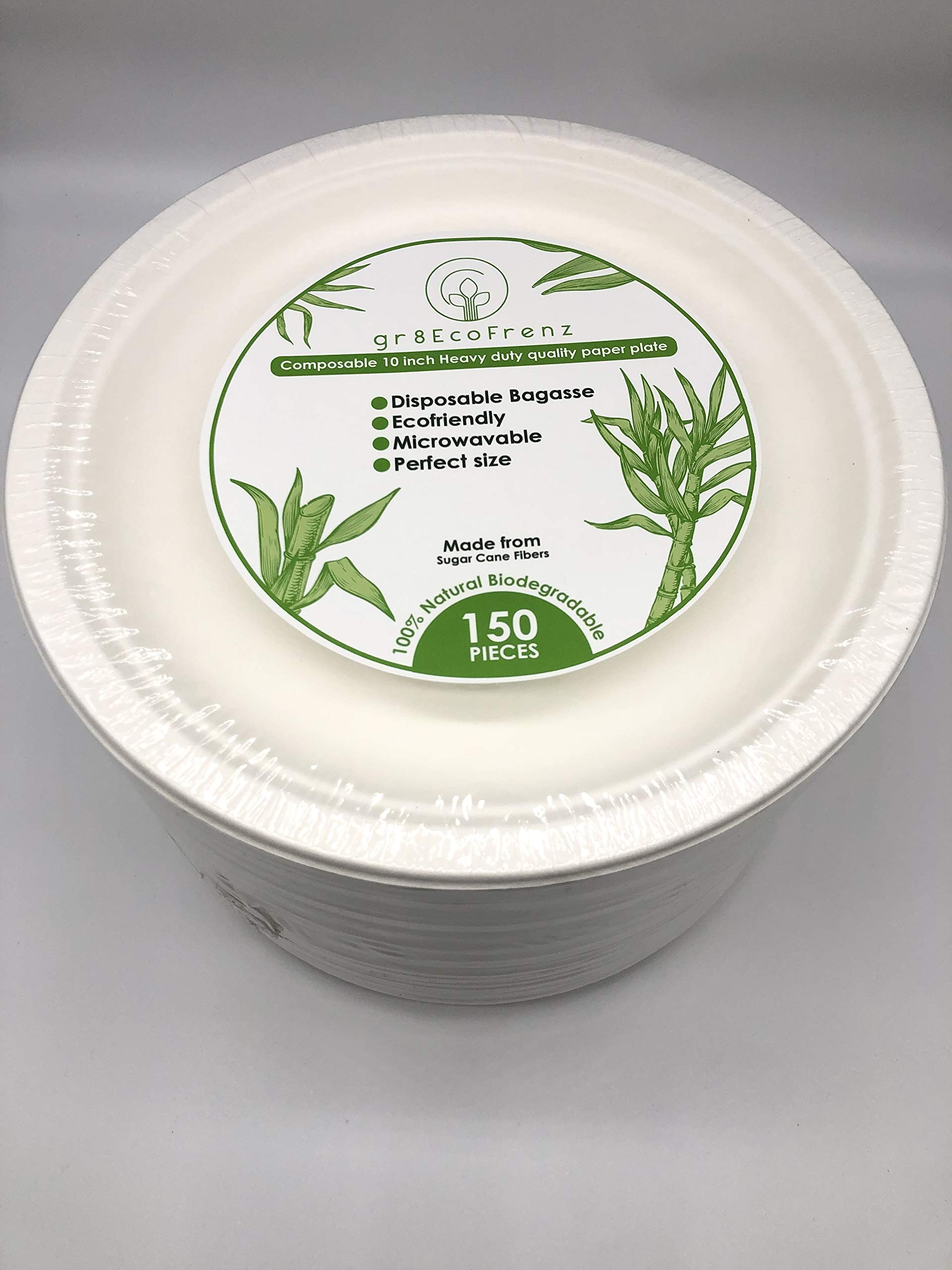 150 pcs Restaurant Grade, 10inch Heavy-Duty Quality,Natural Biodegradable, Disposable Bagasse, Eco-Friendly Made of Sugar Cane Fibers, Gluten free, Microwavable and Safe for Hot and Cold Foods by gr8Ecofrenz