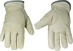 G & F 2012L-3 Cold Weather Premium Genuine Grain Pig Skin Leather Gloves with Red Fleece Lining (3 Pair), Winter Work Gloves, Driving Gloves, Men's Large