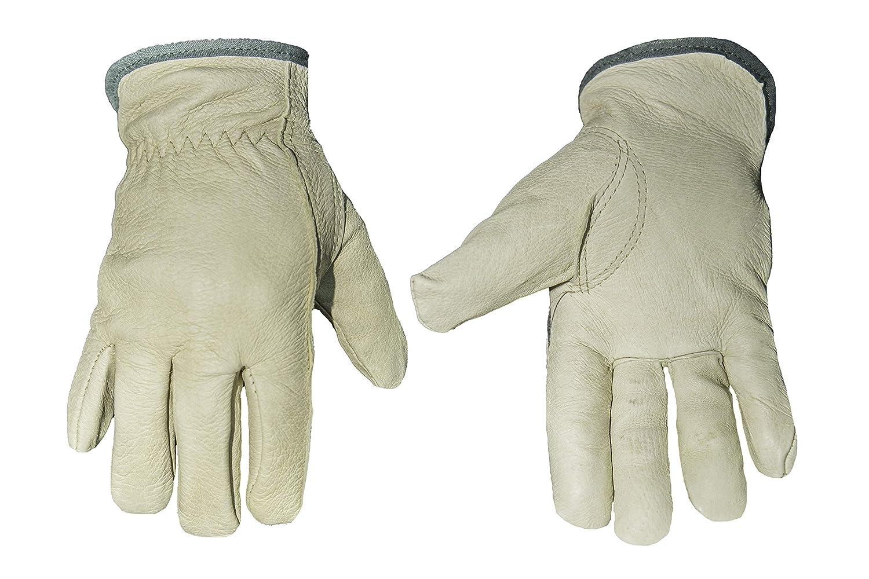 G & F 2012M-3 Cold Weather Premium Genuine Grain Pig Skin Leather Gloves with Red Fleece Lining (3 Pair), Winter Work Gloves, Driving Gloves, Men's Medium