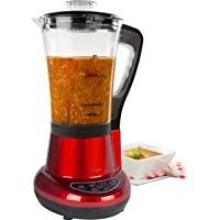 Andrew James Soup and Smoothie Maker (Red), 7 in 1 Multi-Function Machine Also Blends, Grinds, Crushes, Steams and Boils, 1100 Watt, Heat Resistant Jug, Stainless Steel Blades