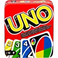 UNO Family Card Game, with 112 Cards in a Sturdy Storage Tin, Travel-Friendly, Makes a Great Gift for 7 Year Olds and Up [Ama