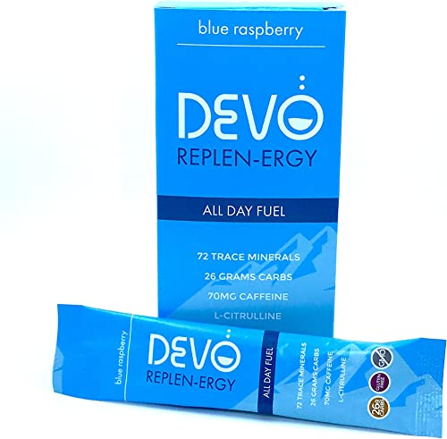 Devo Replen-ergy Blue Raspberry with Caffeine – 7 Single Servings Packets- Energy – Gluten Free – no GMO – Vegan – All Natural