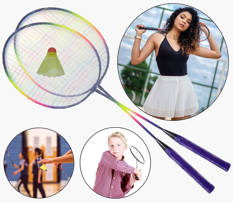 O&W Security - Juego de bádminton con 2 raquetas y pelota de resorte, ideal para toda la familia, vacaciones, jardín, playa, buena calidad