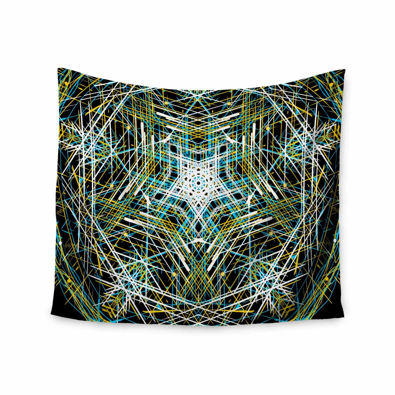 Kess InHouse Frederic Levy-Hadida Mandala 3 Black Green Abstract Geometric Vector Digital 68 x 80 Wall Tapestry