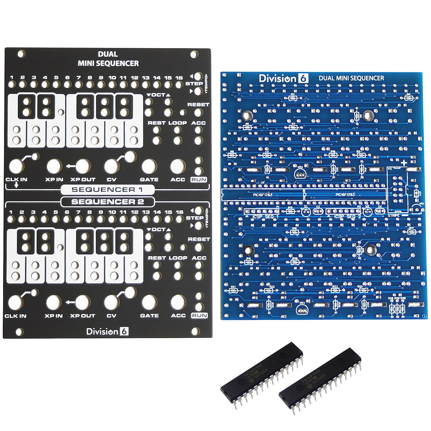 Division 6 Dual Mini Sequencer Eurorack PCB, Panel and ICs by Division 6