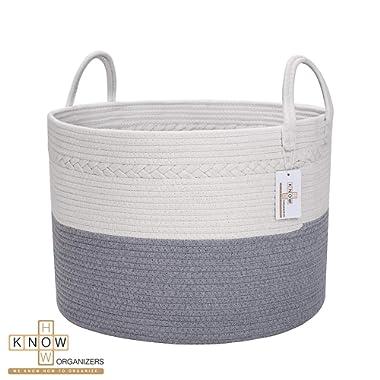 Large Cotton Rope Laundry Basket - Baby Laundry , Woven Laundry Basket, Dog Toy Basket, XXL Blanket Basket, Long Handles, Decorative Nursery Hamper | Grey White 20'' x 13'' Wide Extra Large