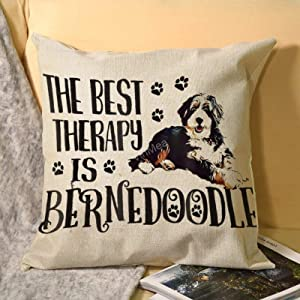 "VinMea Square Throw Pillow Cases, Best Therapy Bernedoodle Decorative Cushion Covers for Sofa Couch Chairs, 20""x20"""