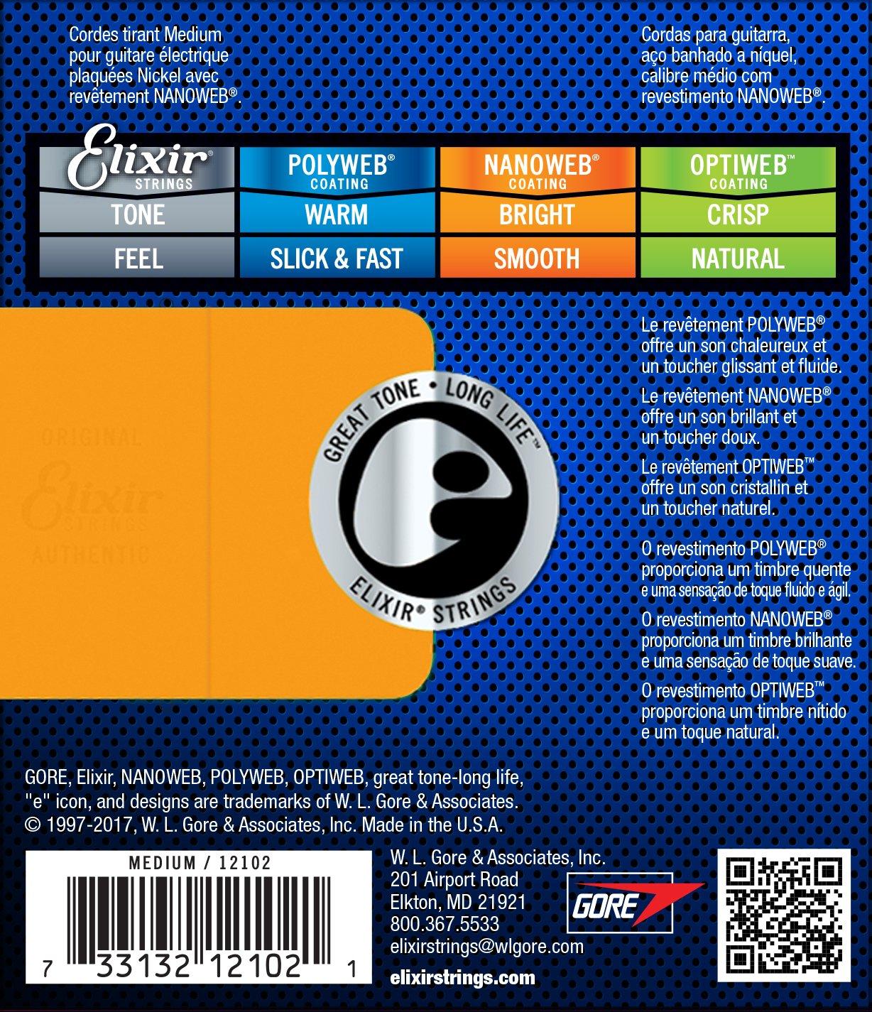Elixir 12102 - Juego de cuerdas para guitarra eléctrica.011-0.049: Amazon.es: Instrumentos musicales