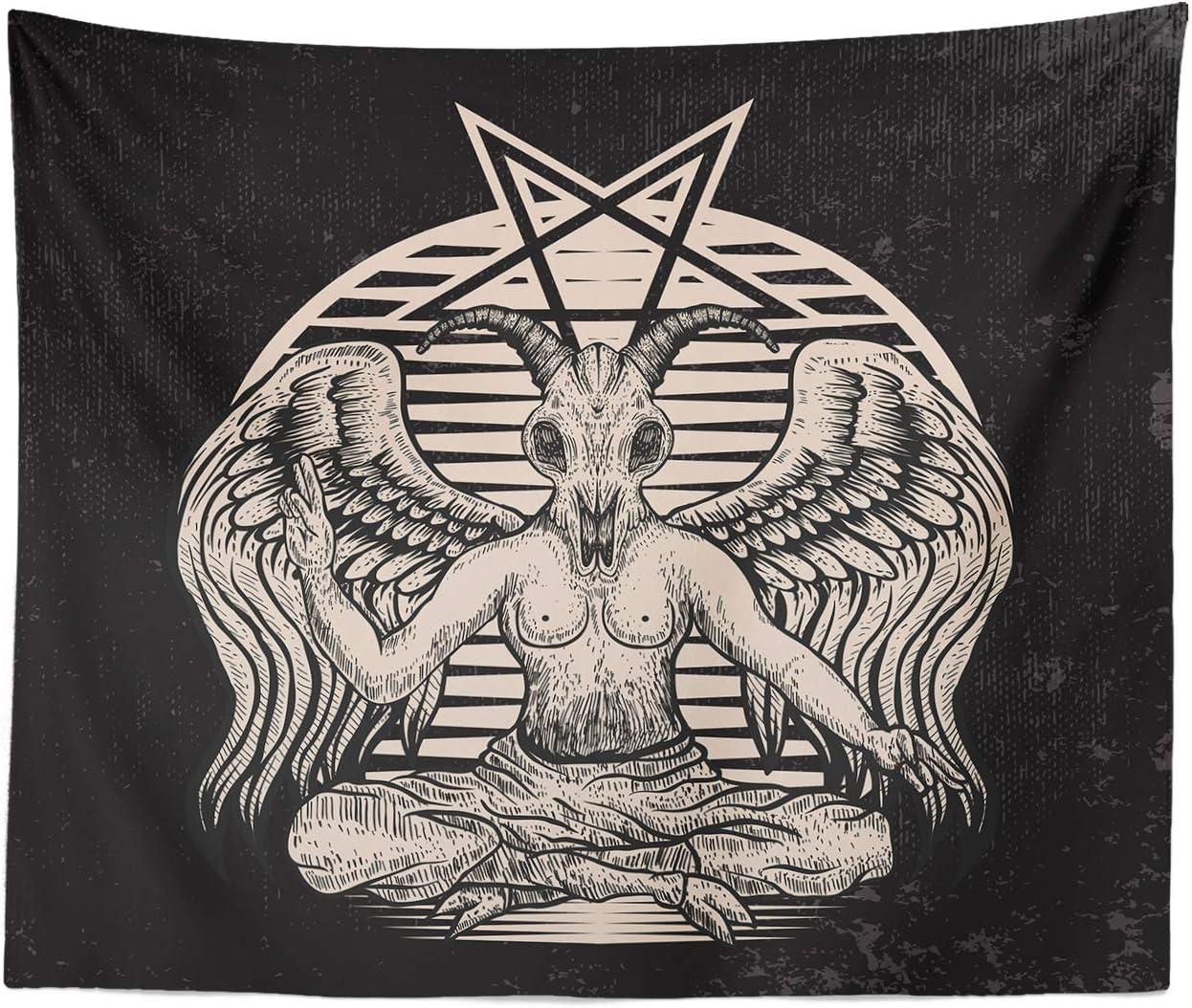 "Occult Tapestry Goat Head Pentagram Gothic Devil Demon Baphomet Satanic Symbol Tattoo Black Metal Dark Art Black Magick Home Decor Wall Hanging (Baphomet, 59"" x 79"")"