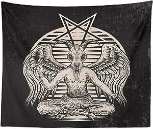 Tapiz ocultista con diseño de Cabeza de Cabra, Pentagrama, Demonio ...