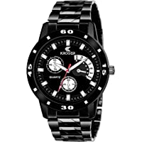KROGER Black Stainless Steel Analogue Watches for Men and Boys Watch