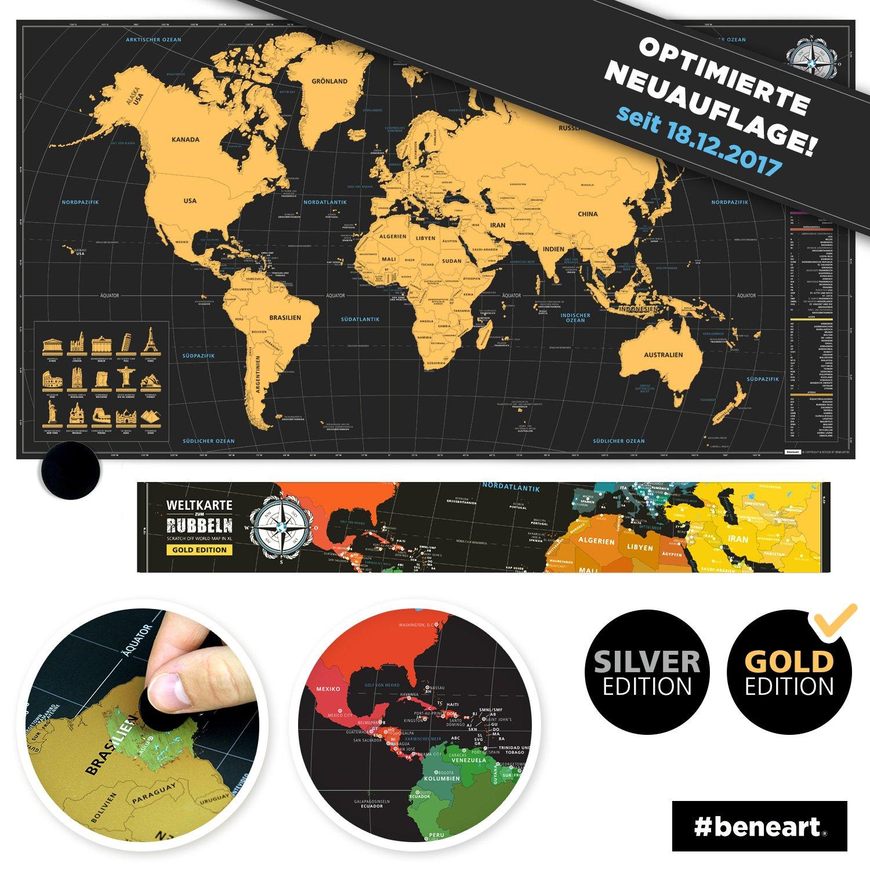 beneart® Weltkarte zum Rubbeln - Rubbelweltkarte - Landkarte zum ...