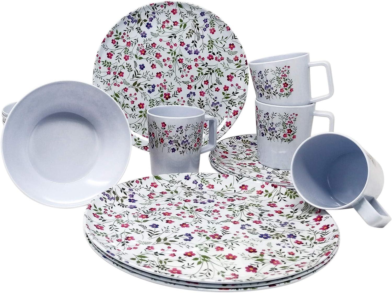 Vajilla de melamina para 4 personas, 16 piezas, diseño de flores, estilo clásico