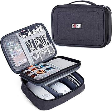 BUBM Estuche para Eléctricas Organizador de Accesesorio Bolsa de Viaje para Cables Cargador,Gadget de Memoria USB Bolsillo para iPad Mini(Largo,Negro): Amazon.es: Electrónica