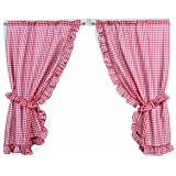 k chen gardinen vorh nge gingham kariert rot wei 117x107cm querbehang. Black Bedroom Furniture Sets. Home Design Ideas