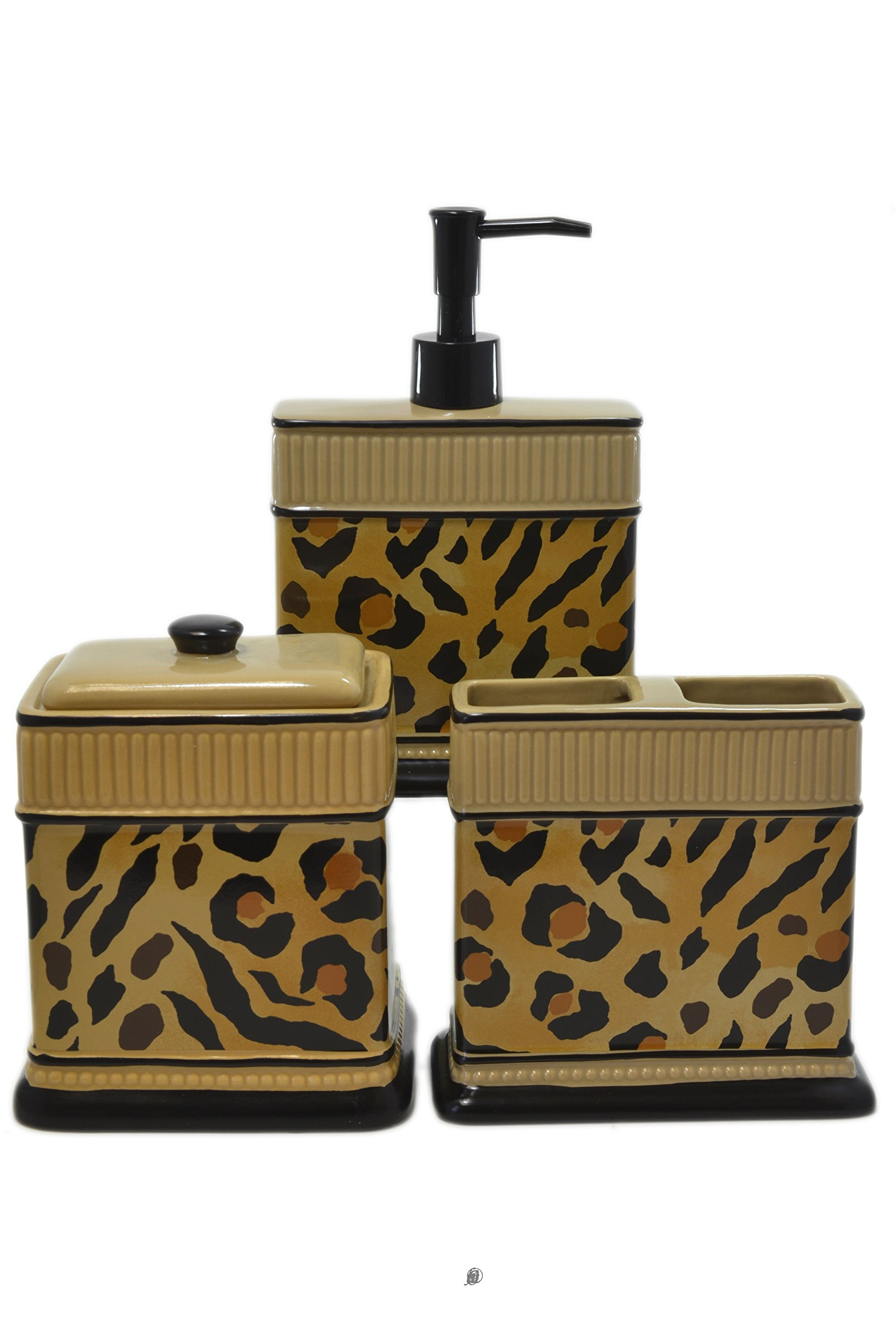 American Chateau Set 3 Piece Leopard Animal Print Ceramic Bathroom Accessories with Cotton Jar