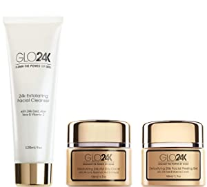 GLO24K 24k Gold Moisturizing Day Cream, Peeling Gel, Exfoliating Facial Cleanser Complete Set