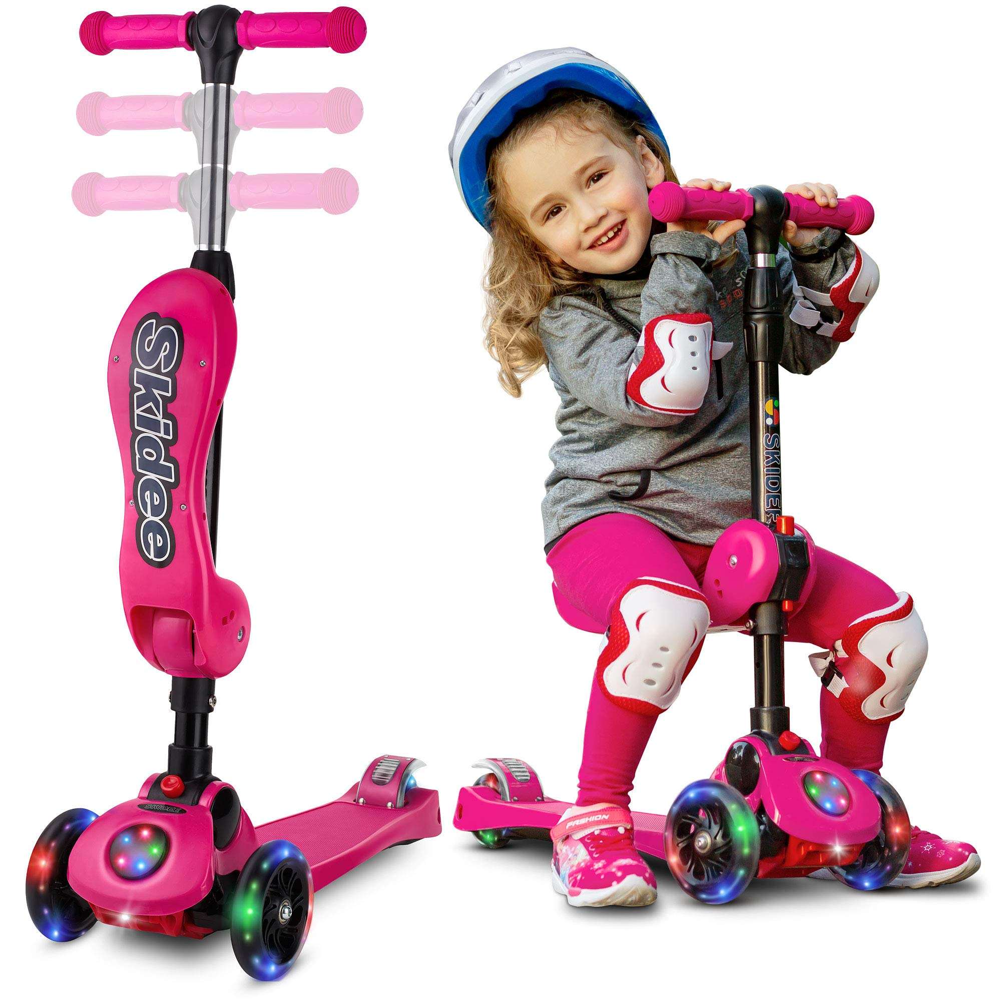 S SKIDEE 3 Wheel Kick Scooter With Folding Seat (Pink) by S SKIDEE