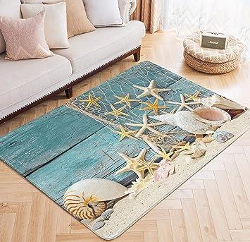 "Actual 3/' 11/"" x 5/' 3/"" COASTAL ivory 4x6 ocean SHELLS area rug DOLPHIN carpet"