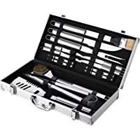 MAVERICK BBQ and Grill Tool 18 Piece Accessory Set Including Barbecue Turner, Fork, Cleaning Brush, Basting Brush, Steak Knives and Corn Cob Holders in Carry Case - Great Gift for Men or Personal Use