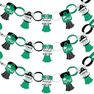 product image for Big Dot of Happiness Green Grad - Best is Yet to Come - 90 Chain Links and 30 Paper Tassels Decoration Kit - 2021 Green Graduation Party Paper Chains Garland - 21 feet
