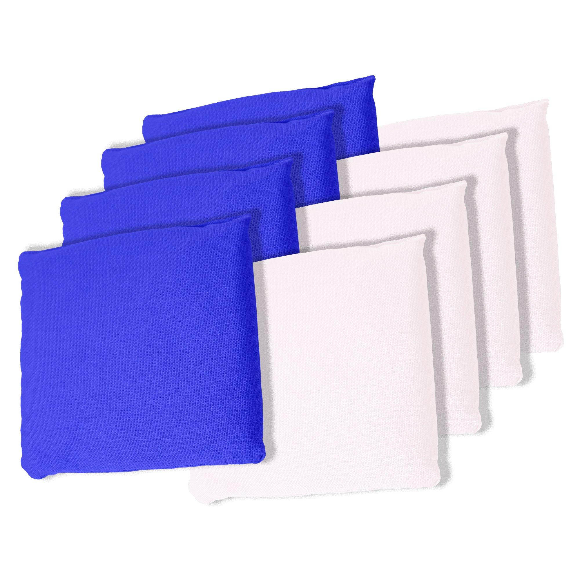 Trademark Games Championship Cornhole Bean Bags (Set of 8), White/Blue