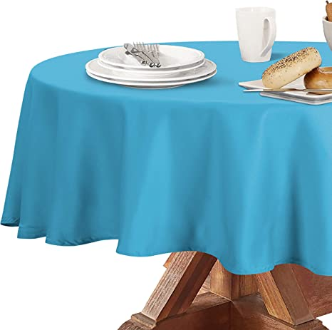 Amazon Com Obstal 210gsm Round Table Cloth Water Resistance Microfiber Tablecloth Decorative Fabric Circular Table Cover For Outdoor And Indoor Use Aqua Blue 60 Inch Diameter Furniture Decor