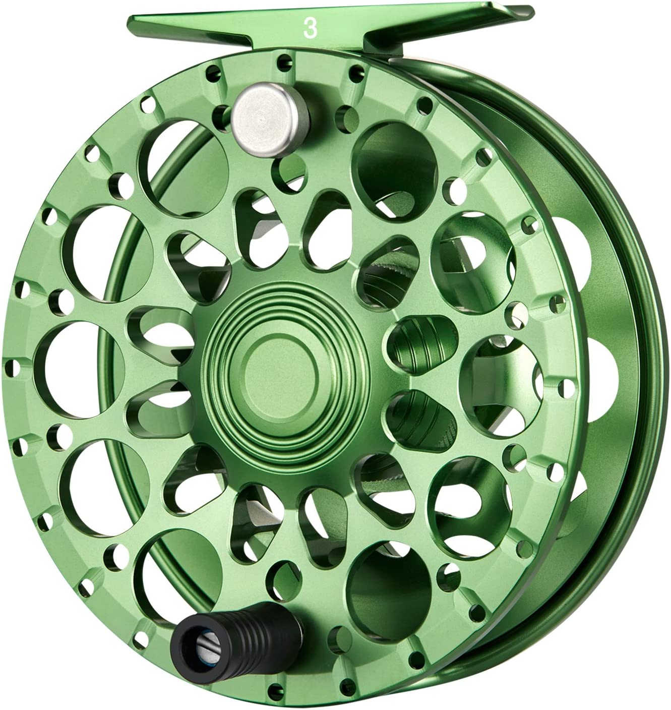 Piscifun Crest Fully Sealed Drag Large Arbor Fly Fishing Reel Saltwater CNC-machined Aluminum Alloy Fly Reel 5 6, 7 8, 9 10 Green,Black