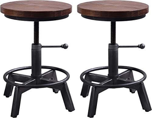 Industrial Bar Stool-Set of 2,Swivel Adjustable Counter Height Stool,Farmhouse Kitchen Stools,15″-21″