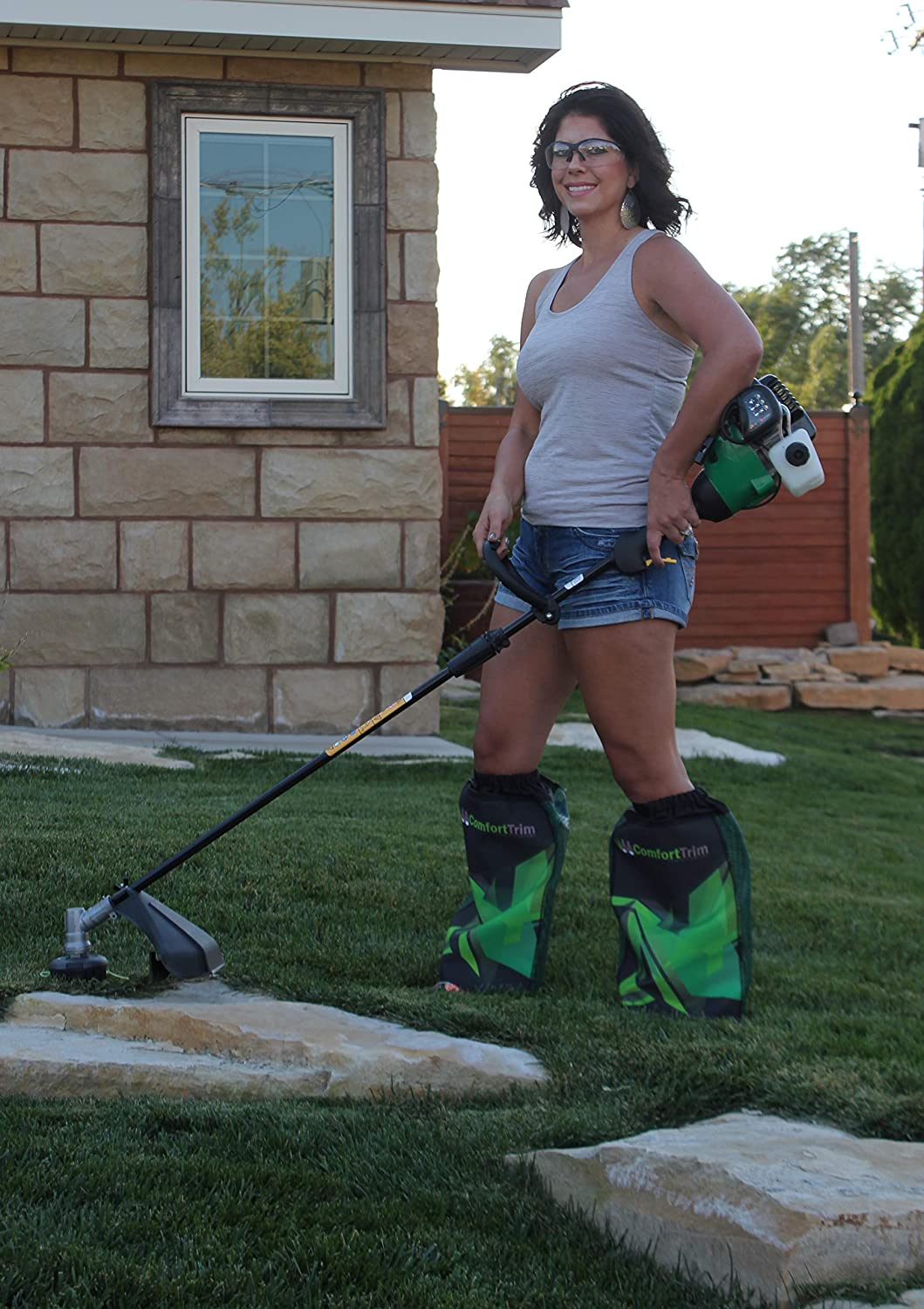 Weed Eater Leg Cover Weed Wack Comforttrim Edge Or Trim Your Lawn In Shorts Green Black One Size Fits All Gloves Protective Gear Gardening