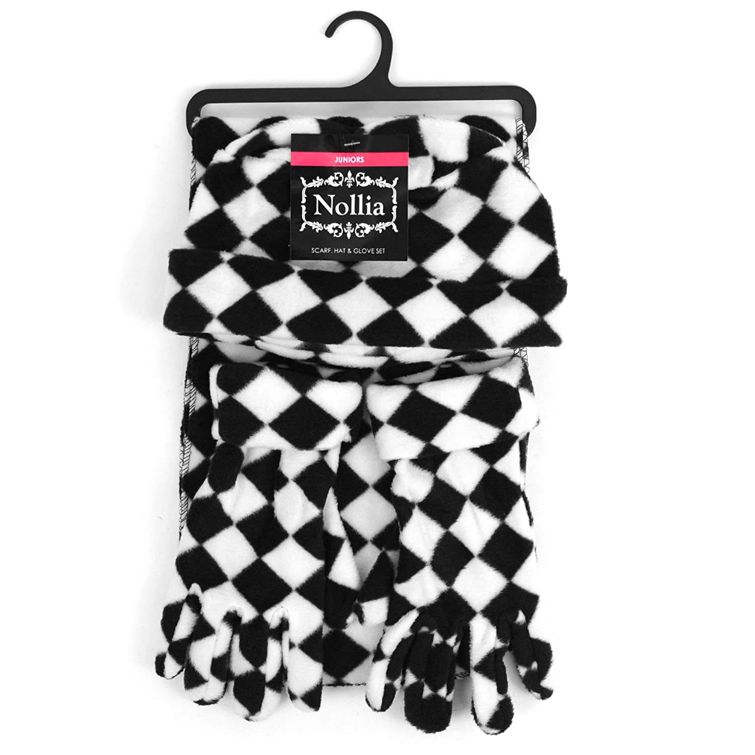 Junior/'s Black and White Checked Fleece Winter Set