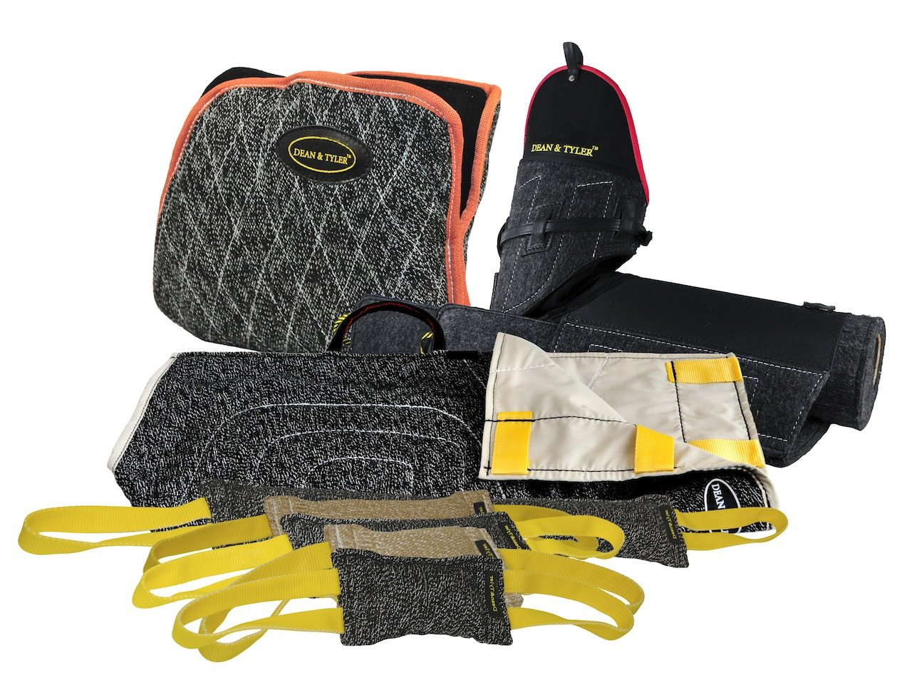 Dean & Tyler 8-Piece Professional Training Bundle Set for Dogs with 1 Tri-Bite Sleeve/1 French Linen Cover/1 Advanced Bite Builder/5 Mixed Tugs