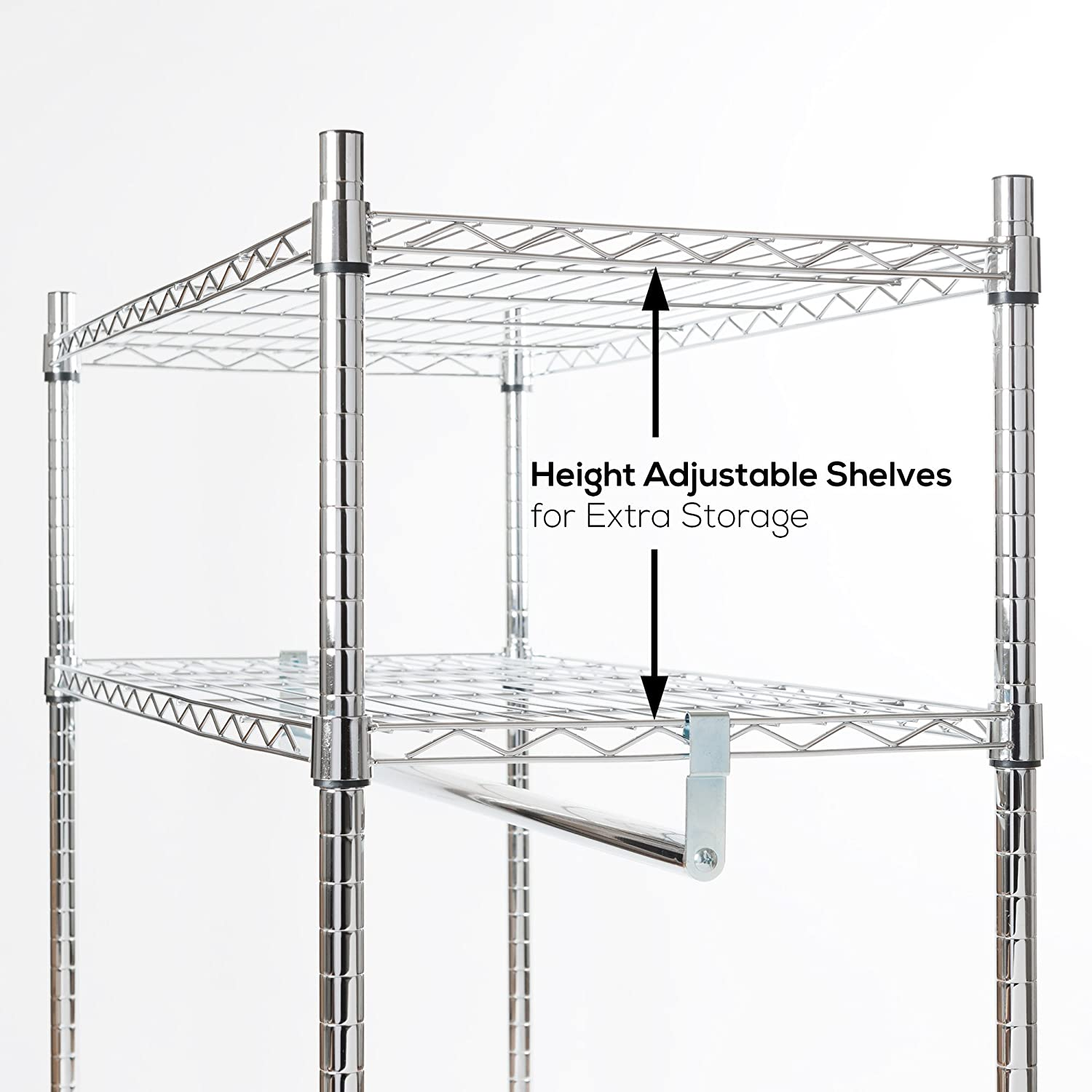 Fast /& Easy to Build Wheels For Easy Movement Maximum Storage in Minimum Space Commercial Grade Chromed Steel Heavy Duty Premium Clothes Rail Over 100kg Total Capacity Built to Last Adjustable Shelves For Ultimate Fl Extra Shelves For Storage
