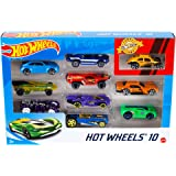 Hot Wheels 10-Car Pack of 1:64 Scale Vehicles, Gift for Collectors and Kids Ages 3 Years Old and Up