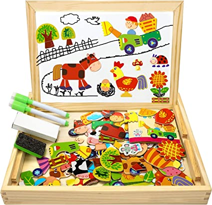 Wooden Magnetic Puzzle Toy Educational Game for 3 4 5 Year Old Boy Girl Toddler