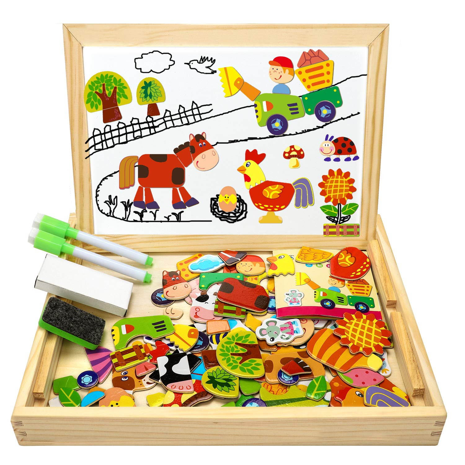 COOLJOY Wooden Magnetic Board Puzzle Games, 100+ PCS Double Sided Jigsaw Farm Pattern Drawing Easel Blackboard Educational Wood Toys for Boys Girls Kids Toddler Over 3 Year Olds