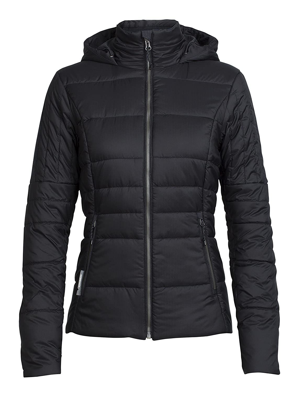 Black Jet HTHR Icebreaker Stratus X Hooded Jacket, New Zealand Merino Wool, Down Alternative